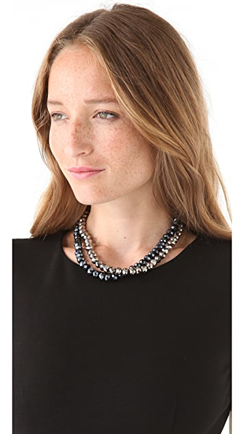 Kenneth Jay Lane Hematite & Jet Faceted Necklace