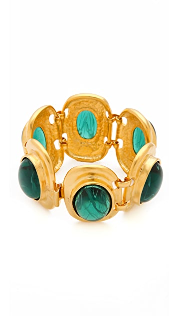 Kenneth Jay Lane Flawed Emerald Cabochon Bracelet