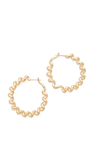 Kenneth Jay Lane Polished Gold Spiral Hoop Earrings