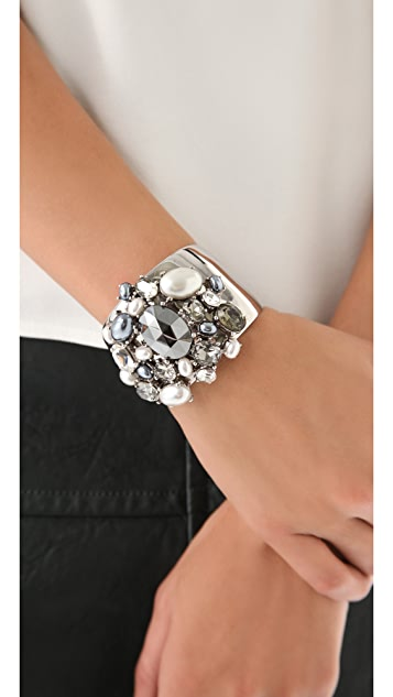 Kenneth Jay Lane Crystal & Pearl Cuff