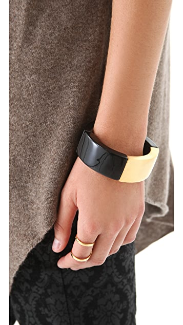 Kenneth Jay Lane Gold & Black Stretch Bangle