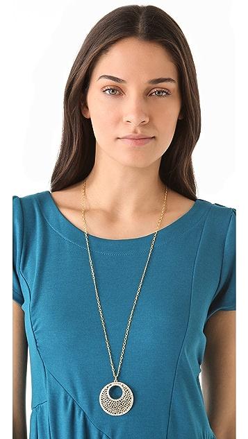 Kenneth Jay Lane Filigree & Crystal Pendant Necklace