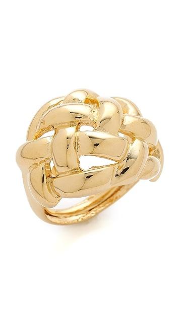 Kenneth Jay Lane Polished Gold Weave Ring