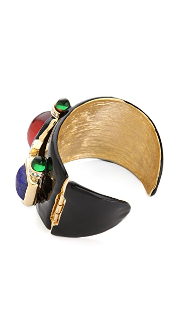 Kenneth Jay Lane Stone Embellished Deco Cuff