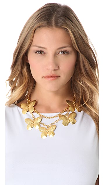 Kenneth Jay Lane Layered Butterfly Necklace