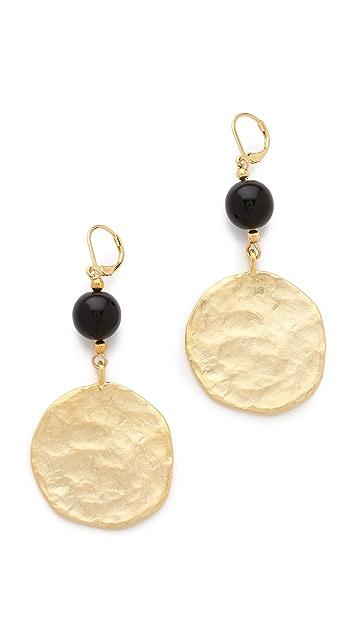 Kenneth Jay Lane Satin Gold Coin Drop Earrings