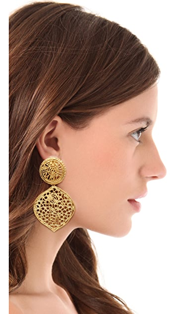 Kenneth Jay Lane Filigree Clip Earrings