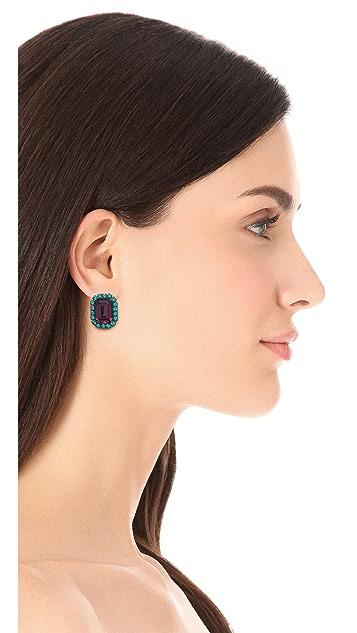 Kenneth Jay Lane Gem Oversized Stud Earrings