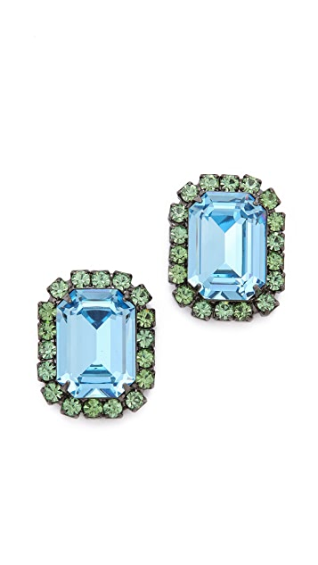 Kenneth Jay Lane Gem Oversized Stud Earrings