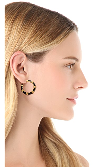 Kenneth Jay Lane Thick  Hoop Earrings