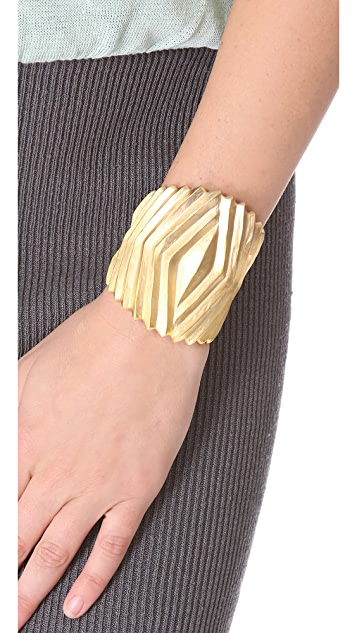 Kenneth Jay Lane Ribbed Hinged Cuff