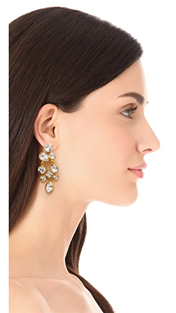 Kenneth Jay Lane Crystal Cluster  Clip On Earrings