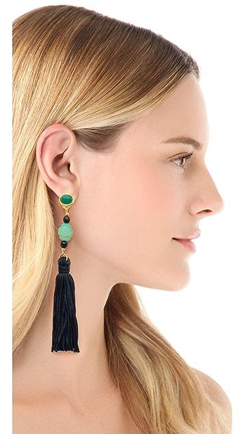 Kenneth Jay Lane Carved Tassel Earrings