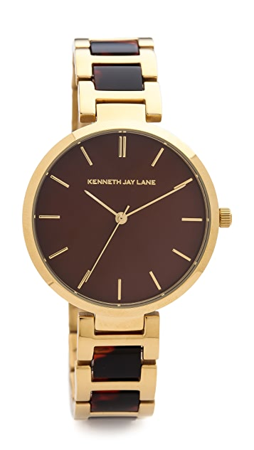 Kenneth Jay Lane Tortoise Link Watch