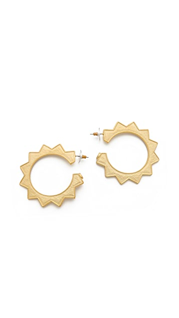 Kenneth Jay Lane Sun Hoop Earrings