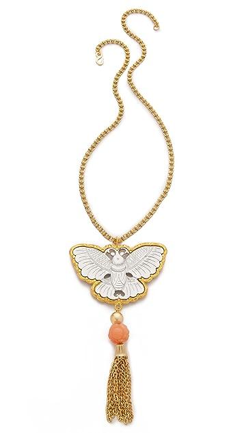 Kenneth Jay Lane Butterfly Tassel Necklace