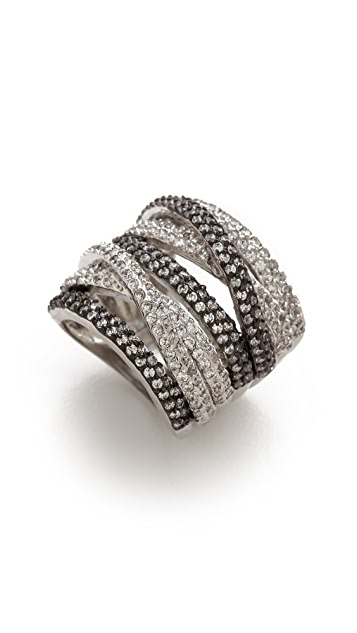 Kenneth Jay Lane Round CZ Pave Multi Band Ring