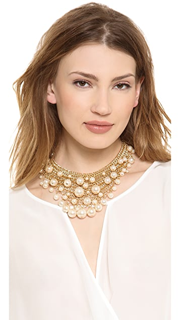 Kenneth Jay Lane Cascading Imitation Pearl Necklace
