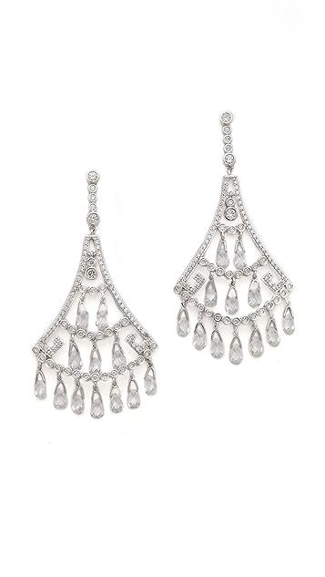 Kenneth Jay Lane Crystal Fan Briolette Earrings