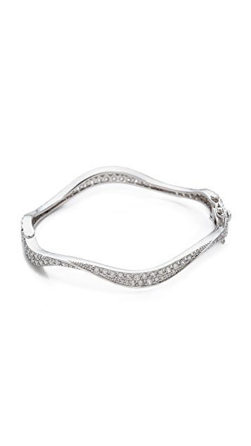Kenneth Jay Lane Crystal Wavy Hinged Bracelet