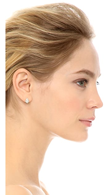Kenneth Jay Lane Mini Halo Pear CZ Stud Earrings