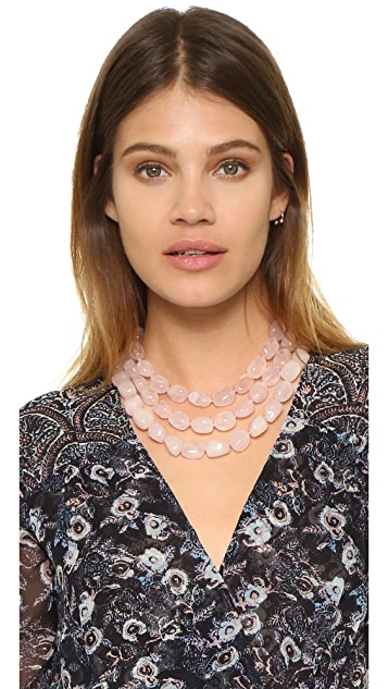 Kenneth Jay Lane Three Row Rose Quartz Bead Necklace