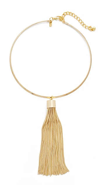 Kenneth Jay Lane Choker Necklace with Snake Chain Tassel