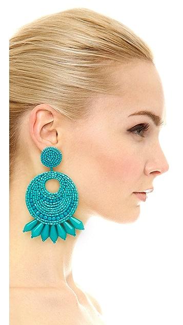Kenneth Jay Lane Seed Bead Hoop Earrings