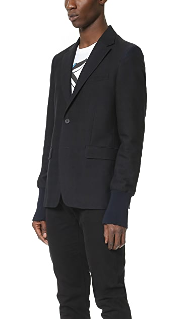 KENZO Shadow Check Suit Jacket with Ribbed Cuffs