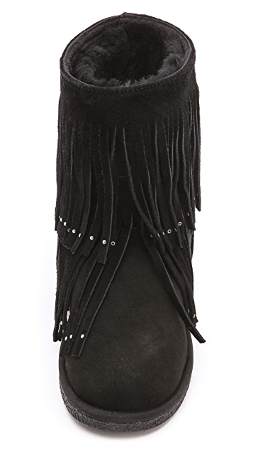 6cfa3ed56a8 Savannity Fringe Shearling Booties