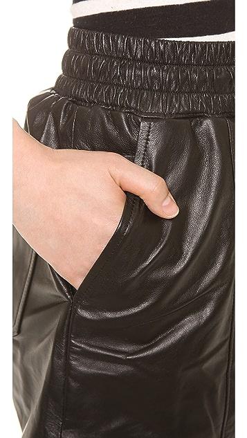 KORAL Mina Leather Jogging Shorts