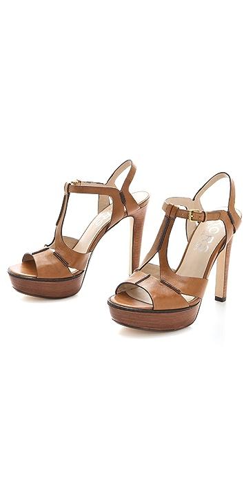 KORS Michael Kors Brookton T Strap Platform Sandals