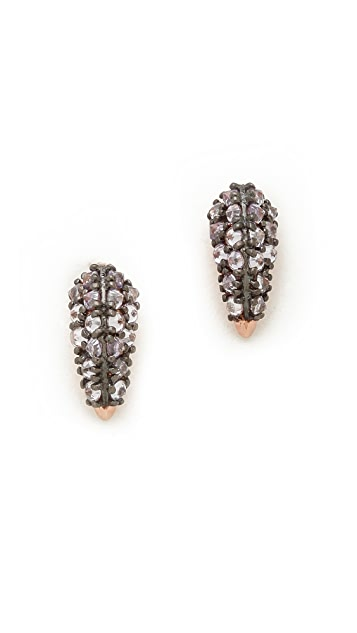 Katie Rowland Stone Studded Fang Earrings