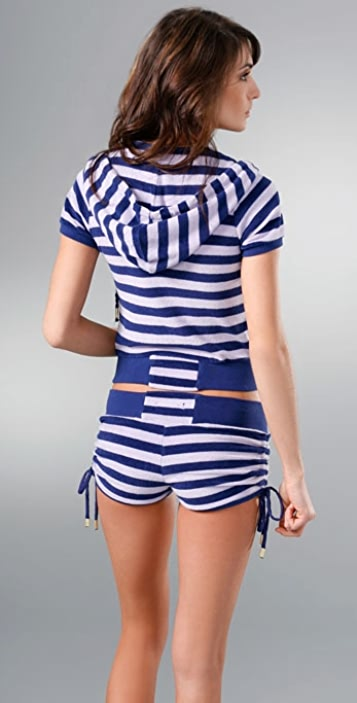 KRITIK Ashlee Striped Short Sleeve Terry Hoodie