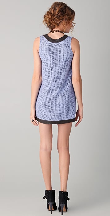 Kelly Wearstler Outro Basket Weave Dress with Leather Trim