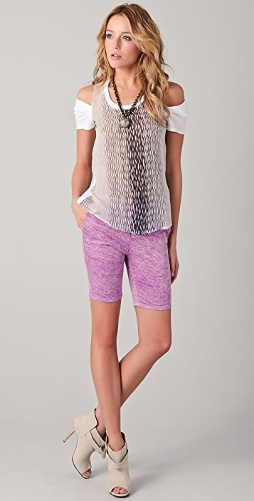 Kelly Wearstler Mesh Print Tee with Cutout Shoulders