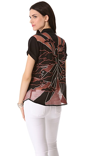 Kelly Wearstler Embroidered Butterfly Top