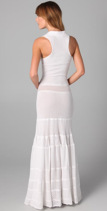 LACOSTE + MALANDRINO The Pointelle Polo Maxi Dress