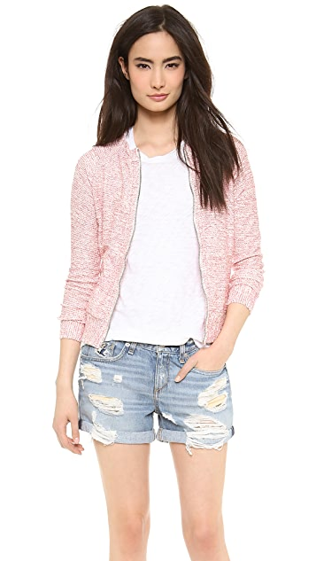 The Lady & The Sailor Varsity Boucle Zip Up Cardigan