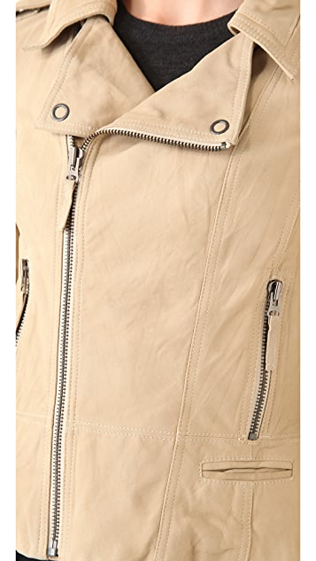 La Fee Verte Washed Leather Moto Jacket