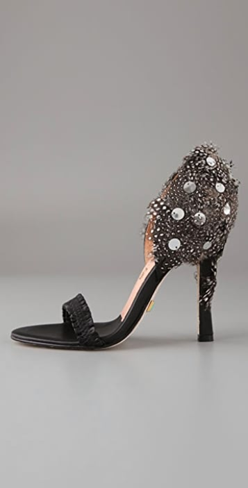 L.A.M.B. Lesley One Band Feather Sandals