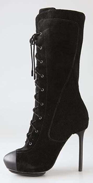 L.A.M.B. Prudence Suede Lace Up Boots