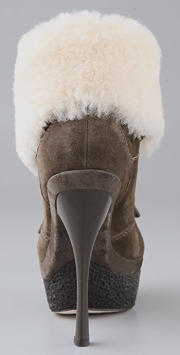 L.A.M.B. Pier Suede Booties with Shearling Cuff