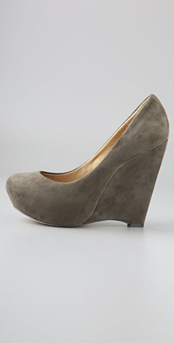 L.A.M.B. Plum Suede Wedge Pumps