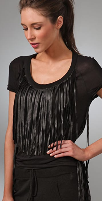 L.A.M.B. Leather Fringe Top