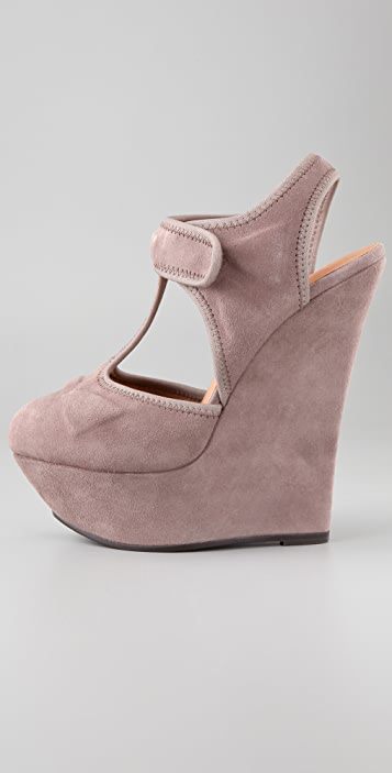 L.A.M.B. Caitlyn Suede T Strap Wedges