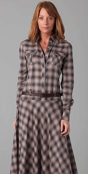 L.A.M.B. Long Belted Plaid Dress