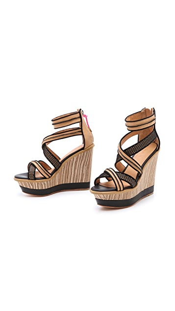 L.A.M.B. Carrera Wedge Sandals
