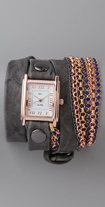 La Mer Collections Sapphire Blue Crystal Chain Wrap Watch