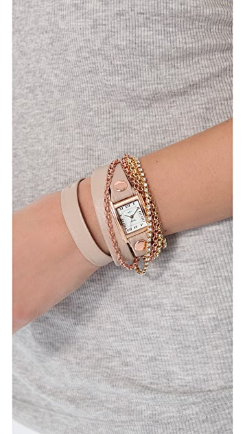 La Mer Collections Crystal Chain Wrap Watch